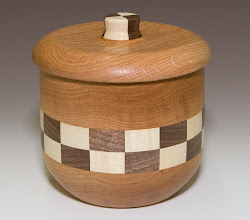 "Photo: Don Van Ryk - cookie jar, oak with walnut and maple segments, ~7"" x 6"""