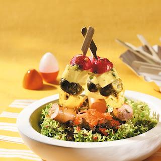 Salat Lagerfeuer mit Gemüsespießen