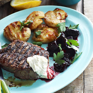 Sirloin Steaks with Horseradish Cream and Balsamic Beets