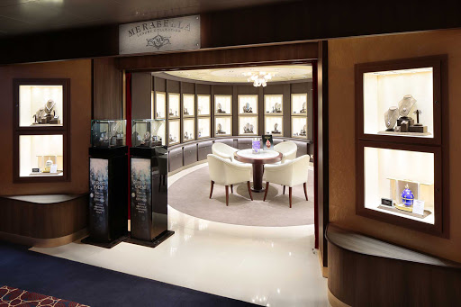 Merabella, a luxury jewelry boutique featuring high-end watches and pieces from noted designers on ms Koningsdam.