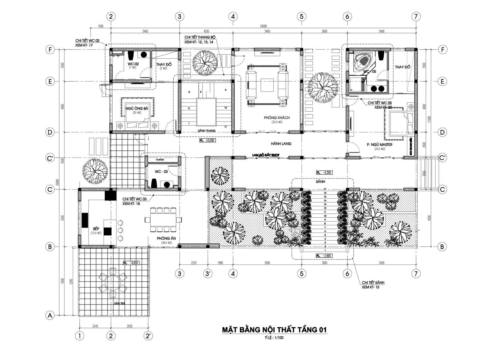 Mặt bằng tầng 1 mẫu nhà biệt thự 2 tầng hiện đại
