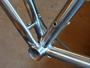 Photo: Bottom bracket area with a piece of brake housing mocked up to show the routing.