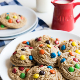 Big, Soft Baked Peanut Butter M&M Cookies.