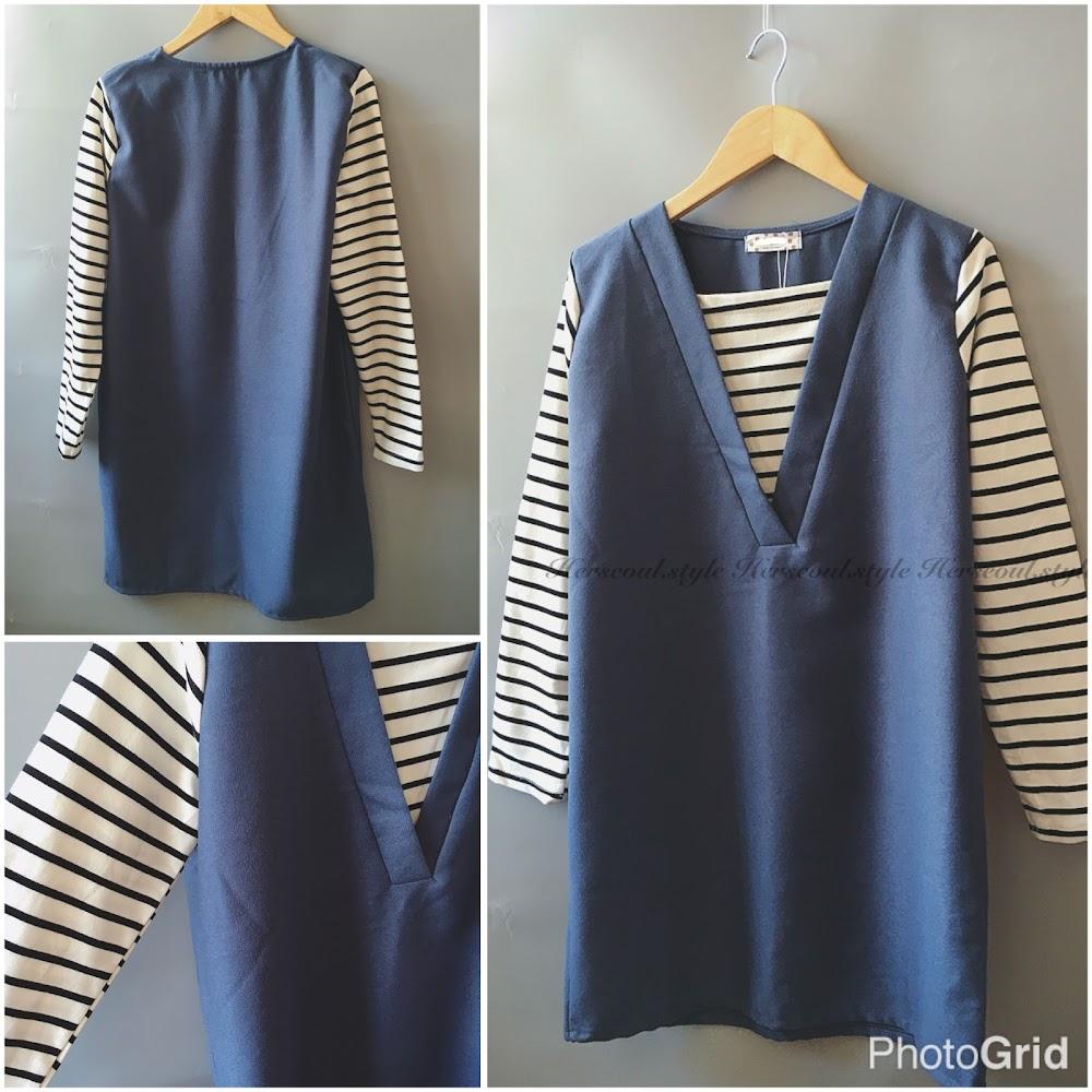 💙寶藍絨裙拼間條袖💙