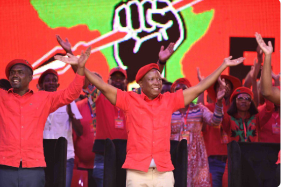 EFF secretary general Gordrich Gardee and party president Julius Malema during the red berets' 2019 election manifesto launch at Giant Stadium in Soshanguve, Tshwane on February 2 2019