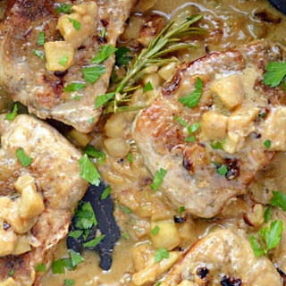 Sage Pork Chops with Apple Pan Gravy.