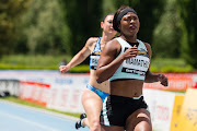 Tebogo Mamathu competes in the women's 100m heat race during the Riunione Italiana di Velocità athletic meeting in Rieti, Italy.