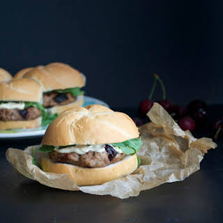 Turkey Burgers with Roasted Cherries and Brie.