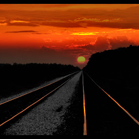 Vanishing Point by Vickie Barnhill - Transportation Other ( sunset railway railroad lines )
