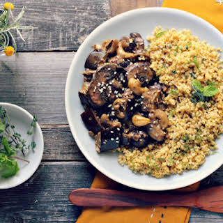 Eggplant and Mushroom Saute With Herbed Toasted Millet [Vegan, Gluten-Free].