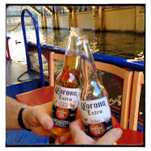 Photo: Refreshment for the river cruise - that's Lowell's second beer!