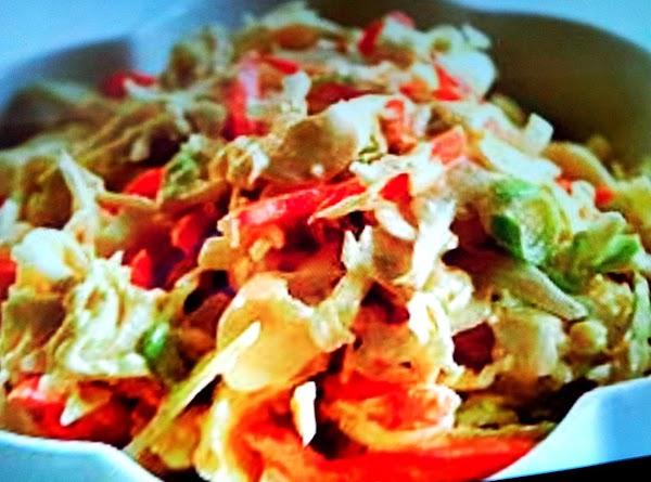 Vinegar Coleslaw: 1-small head of green cabbage shredded 1/2 red bell pepper & 1/2 green bell...