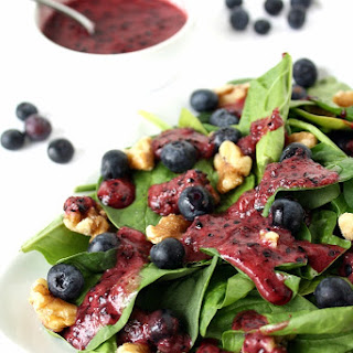 Blueberry-Basil Dressing on Spinach Salad