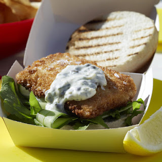 Fish Burgers with Caper Mayonnaise.