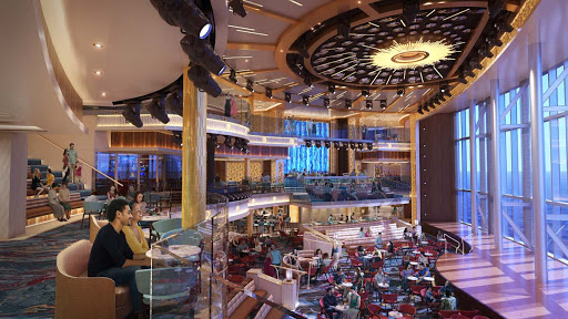 A rendering of the atrium aboard Mardi Gras, the largest ship in the Carnival fleet.
