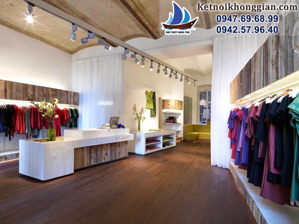 thiết kế cửa hàng thời trang với rèm mỏng tinh tế