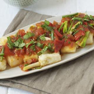 Crispy Tofu with Spicy Tomato Sauce.
