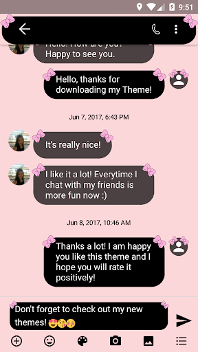 SMS Messages Bow Pink Pastel Theme 4.0 screenshots 2