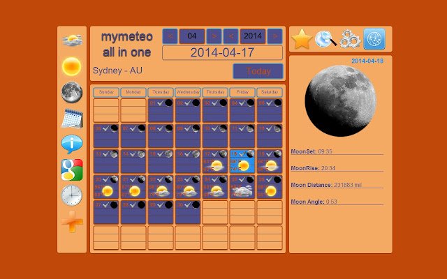 Ad Added Weather forecast  Calendar  Sun and Moon  Astronomy