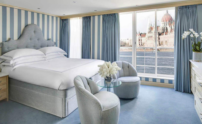 A look at one of the suites aboard the Danube River cruise ship S.S. Beatrice.