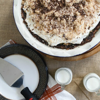 Peanut Butter Pie with Brownie Crust.