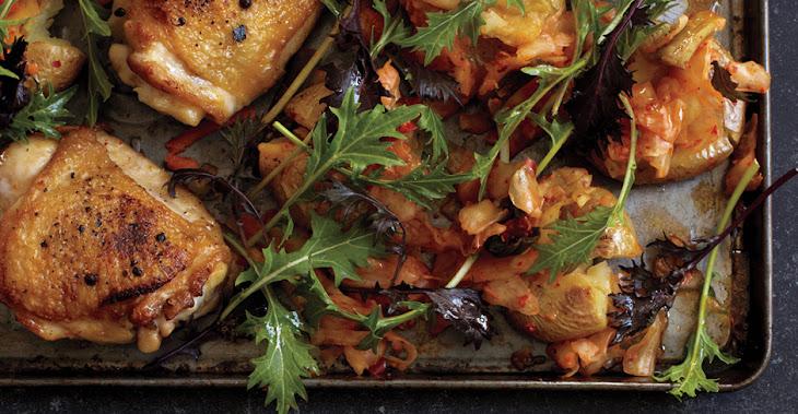 Roast Chicken with Kimchi Smashed Potatoes Recipe