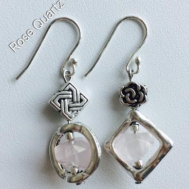 Rose Quartz (粉晶) Earrings