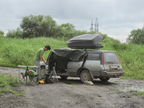 "Photo: Georgy sets up at our last field site: ""Bad Piggies""...there's a story"