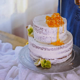 Rustic Honey and Almond Naked Cake.