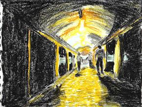 Photo: 辛勞2010.09.20粉彩筆+蠟筆+粉蠟筆+軟式粉蠟筆 每個上班的夜晚,我和同事們每三小時起床一次,拖著疲憊的腳步,瞇著怎麼也張不開的眼睛,通過燈火昏暗的長廊,到勤務中心集合點名,然後進勤區接班,換另一組同事下來休息… 監所的管理員是個備極辛苦的工作,上來自只會出一張嘴的長官那無論多不可行、多不合理的命令也要想辦法使命必達;下來自收容人犯的反彈、考驗、算計、也要想辦法與之週旋、化解,還要隨時準備危機處裡,諸如打架、自殘、自殺、暴動、脫逃…等任何可能發生的狀況,但…我們經常是單獨一人在勤區面對一百多位收容人,而身上的裝備也僅有一個哨子和一支甩棍而己,能依靠的只有一支打出去可能佔線不通電話,以及咱自家祖上積的德… 夜勤管理員尤其還得忙完一個白天後,在其他人下班回家抱老婆小孩睡覺之時,得值三休三,不管你再怎麼累,多麼無聊,就是不能打瞌睡,也不能看書報,要是被督勤長官看見了,不是寫報告、列入年終考績,就是懲處,能做的就是看監視器螢幕看得兩眼發紅、發直,每十五分鐘走過舍房長廊巡邏、簽名,然後心裡自求多福,房內的收容人可不要做了什麼違規違法,而你又沒看到的事…要不…可不一定只是寫報告或懲處,倒霉的還可能吃官司或者法辦… 這也是為什麼只要有朋友想來考這行,我都會請他們好好三思…