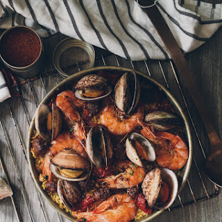 Oven Baked Paella with Seafood and Chorizo.