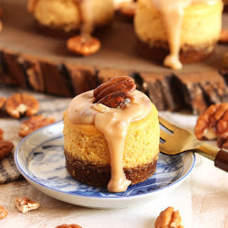 Mini Bourbon Pumpkin Praline Cheesecakes
