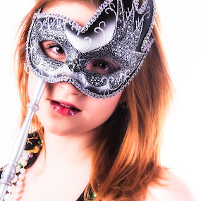 masquerade by Christopher Mazzoli - People Portraits of Women ( high key, red, girl, female, dress, woman, mask, fun, party, mardi gras )