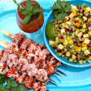 Grilled Tropical Fruit Habañero Shrimp with Spicy Mango Pineapple Rhubarb Salsa