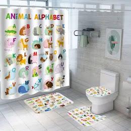 Set pentru baie: perdea, covorase si husa de toaleta, Alphabet
