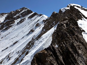 Photo: Top of the route. We'll be traveling on the backside of this ridge.