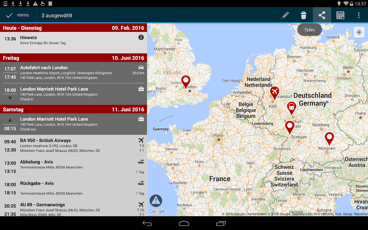 travelload trip planner- screenshot