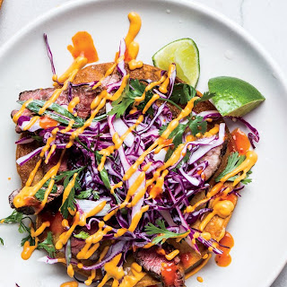 Skirt Steak Tostadas With Cashew Salsa and Red Cabbage Slaw