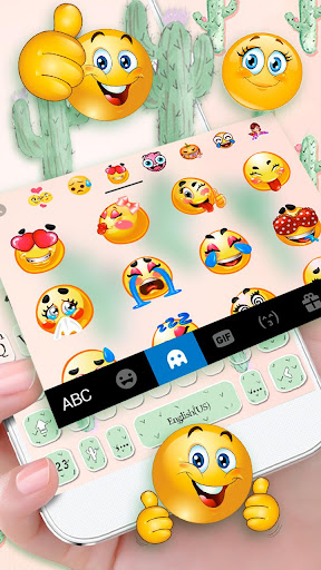 Cute Cartoon Cactus Keyboard Theme 1.0 screenshots 2