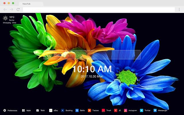 蓝色花朵 热门风景 新标签页 高清壁纸 主题