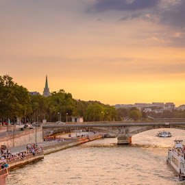 sunset in paris by Mo Kazemi - City,  Street & Park  Vistas ( eiffel tower, paris, romantic, france, cityscape, riverside, eiffel, river, boat )
