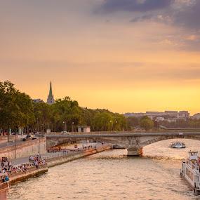 sunset in paris by Mo Kazemi - City,  Street & Park  Vistas ( eiffel tower, paris, romantic, france, cityscape, riverside, eiffel, river, boat )