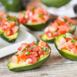 Lomi Lomi Salmon in Avocado Halves.