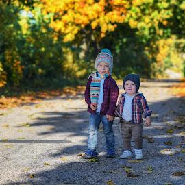 Brothers by Piotr Owczarzak - Babies & Children Children Candids ( children, young, autumn, family, kids )