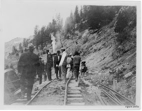 Photo: Southbound RGS train #8, wrecked May-17-1912, near MP 19, north of Placerville, CO  Mercer-Kirkham-Turner Collection