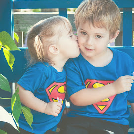 Kiss for Big Brother by Jenny Hammer - Babies & Children Children Candids ( sister, kiss, brother, kids, cute )