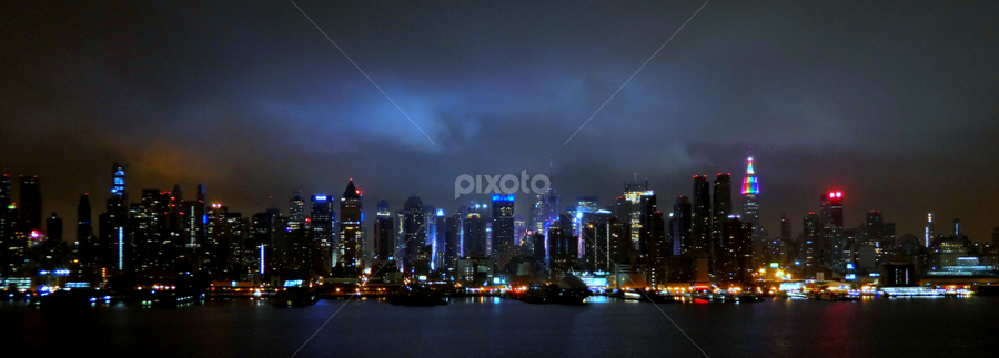Midtown in the Clouds Panorama by Jacob Uriel - City,  Street & Park  Skylines ( skyline, gay, night, homosexual, new york, empire state, gay pride )