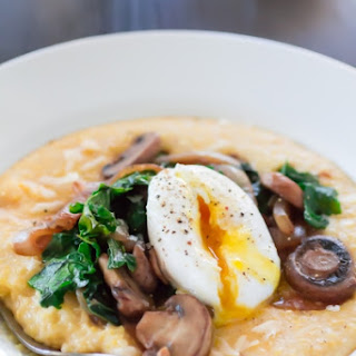 Cheesy Polenta with Caramelized Onion, Mushroom, Kale and Egg