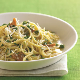 Spaghetti Carbonara with Pork Belly and Fresh Peas.