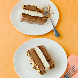 Chocolate, Hazelnut, and Vanilla Ice Cream Cake.